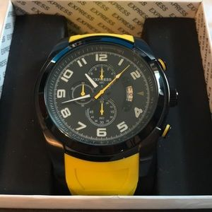 Black/Yellow Stainless Steel Express Watch
